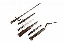 (4) BAYONETS - Including: Scarce Swedish Mauser M1896 with leather frog, conical stud, by Erkilstuna (EJAK), 15 3/4