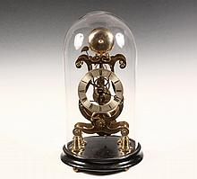 SKELETON CLOCK UNDER GLASS DOME - Exceptional British Lyre Form Skeleton Brass Clock, Fusee with Passing Strike, circa 1850