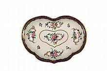 EARLY WORCESTER SWEETMEAT DISH - Heart Shaped, with cobalt and gilt edge, five groups of polychrome flowers, the central one inside a g