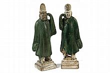 PAIR CHINESE BURIAL FIGURES - Green Glazed Pottery Tomb Figures of Scholars with robes having overly long sleeves (mirrored hands raise