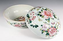 CHINESE PORCELAIN - Republic Period Sweet Meat Bowl with domed cover, decorated in famille rose flowers on exterior, with erotic scene