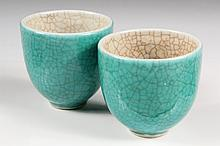 PAIR CHINESE WINE CUPS - Pottery Wine Cups in turquoise crackle glaze, white interior, narrow foot. Chien Lung Period (1736-1796). 3 1/