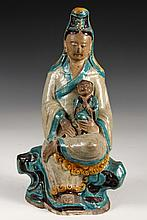 CHINESE POTTERY FIGURE - Ming Sancai Glazed Seated Mother with Child, 14