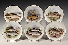 (6) HAND PAINTED FISH PLATES - Doulton Burslem, signed by Henry Mitchell (active 1893-1908), gilt edged, including: Common Trout; Perch