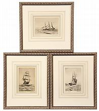 (3) MARINE ETCHINGS - Ship Portraits by Charles JA Wilson (MA, 1880-1965), all pencil signed and titled, Sovereign of the Seas, Westwar