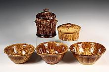 (5 PCS) BENNINGTON POTTERY - All 19th c., including: 1849 Flint Tobacco Jar, alternate rib pattern, 8 1/4