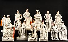 (12) STAFFORDSHIRE FIGURES OF 19TH C ROYALTY - Including (4) couples as individual figures: King Edward VII & Queen Alexandra; Duke of