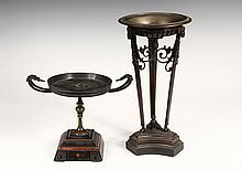 (2) FRENCH BRONZE TAZZAS - Neo-Classical Themed, Empire to Restoration Period, including: Tall Romanesque Censer, with ribbed pan with
