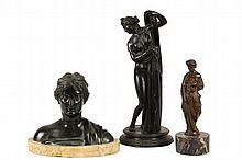 (3) 19TH C COPIES OF ROMAN STATUES - Including: Partially Draped Standing Woman in nearly black patinated bronze, unmarked, on integral