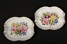 PAIR OF ENGLISH SERVING DISHES - Mayer & Newbold Shaped Serving Dishes, with gilt edge, hand painted polychrome flowers, raised floral