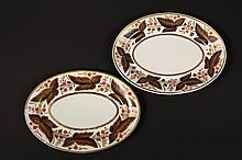 PAIR OF OVAL ENGLISH IRONSTONE PLATES - Flight, Barr & Barr Worcester Plates in brown leaf and red blossom pattern, gilt vines and bord