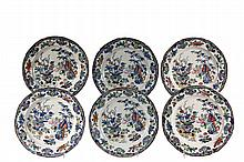 (SET OF 6) ENGLISH IRONSTONE PLATES - Masons Bamboo Pattern in blue, with indent edge, with the underglaze blue crown over swagged bann