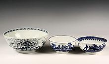 THREE EARLY WORCESTER BOWLS - All in Chinoiserie Blue & White, the largest has temple in landscape exterior, prunus interior, 3 7/8