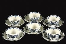 RARE SET OF SIX WORCESTER CUPS AND SAUCERS - Circa 1785 Blue & White Porcelain in the Manchester pattern, handleless cups with the W ma