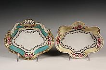 (2) EARLY WORCESTER PORCELAIN SWEETMEAT DISHES - Chamberlain Regent China, circa 1816-20, both with the No 155 Bond Street, London addr