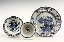 (3) EARLY ENGLISH CHINA PLATES - Including: Masons Chinoiserie blue & white stoneware with gold highlighting, with blossoms and prunus,