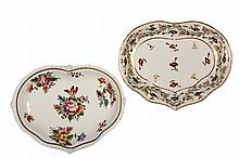 (2) EARLY WORCESTER PORCELAIN SWEETMEAT DISHES - Derby China, both with the red crown mark, circa 1806-25, in similar heart shaped form