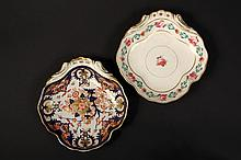 (2) EARLY WORCESTER PORCELAIN SWEETMEAT DISHES - Derby China, both with the red crown mark, circa 1806-25, in the same three-lobed form
