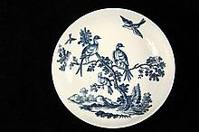 EARLY WORCESTER SAUCER - Blue on White Birds in Branches, circa 1775, with blue 'C' mark, 1