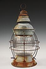 SHIP'S LANTERN - Mid 19th c. Galvanized Civil War Era Ship's Lantern with lavender ribbed glass (cracked), tag reads 'B. Haliburton