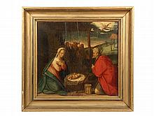 FLEMISH PAINTING - Adoration of the Magi, Flemish, 16th c, oil on panel. In gold painted molded frame. OS: 22