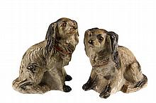 PAIR OF CHALKWARE MANTEL FIGURES - Seated Spaniels, in opposing poses, late 19th c. In the original, untouched finish. 8 1/2