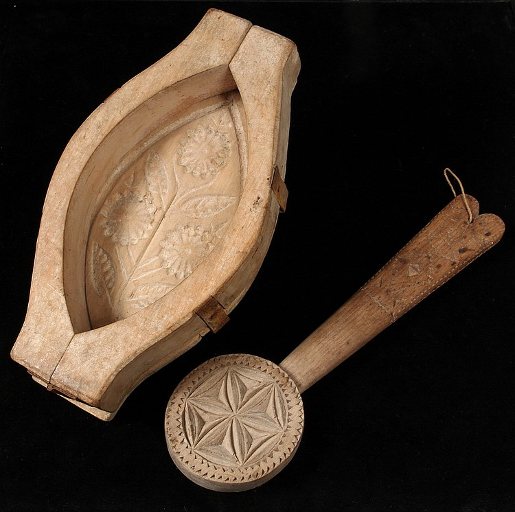 (2) EARLY BUTTER MOLDS - Including: Three Part Mold in leaf shape with carved floral branch, 10 1/2