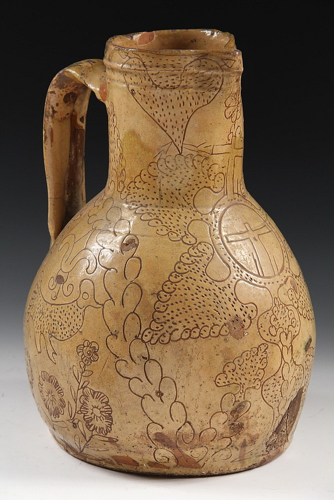 POTTERY PITCHER - Spanish Colonial Tin Glazed Terra Cotta Pitcher in buttery color, with scraffito decoration, 13 1/2