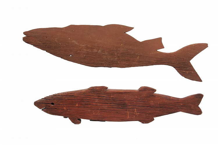 (2) FISH CARVINGS - Two 19th c Cod Carvings in weathered wood, one is a weathervane with intact receiver, the other is probably a trade
