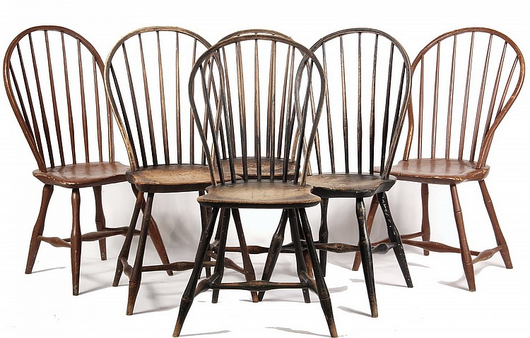 SIDE CHAIRS - Assembled Set of (6) Circa 1800 Bowback Windsor Side Chairs, 36