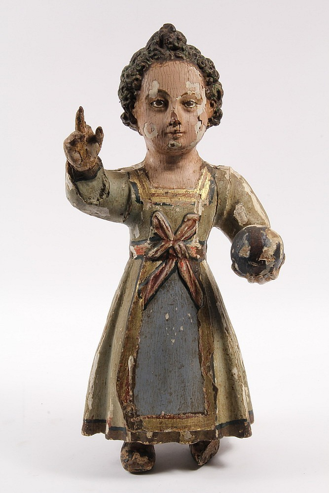 CARVED FIGURE - Spanish Colonial Polychrome Figure of Girl Holding a Ball with other hand raised in greeting, glass eyes, 19