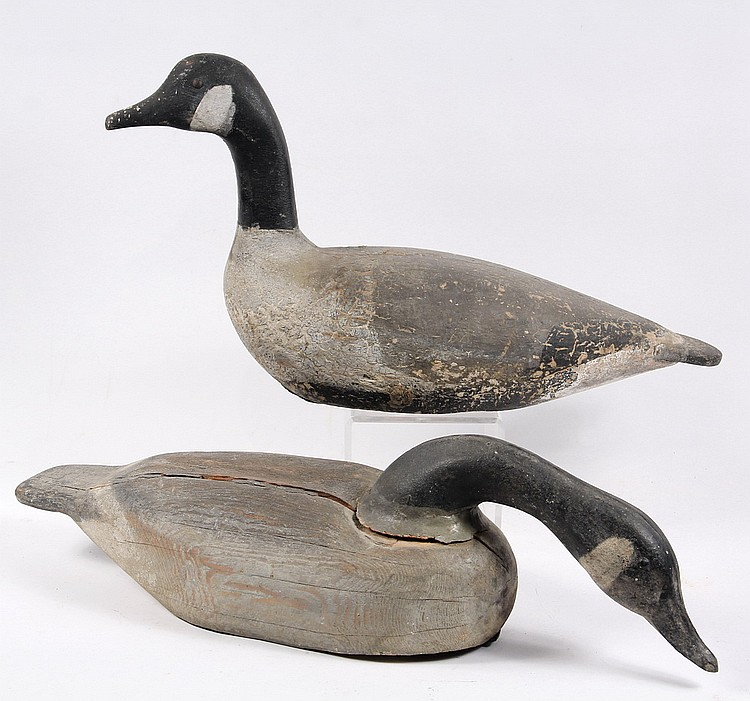 (2) GOOSE DECOYS - Two Canada Goose Decoys, one with head down, early 20th c, one stamped 'EPM'