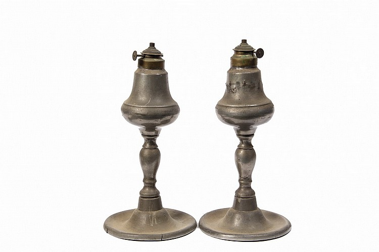 PAIR WHALE OIL LAMPS - Pair of Pewter Whale Oil Lamps, circa 1845, by Martin Hyde, New York City, stamped 'M. Hyde, original burners i