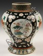 CHINESE FAMILLE NOIR VASE - 19th c Chinese Compound Baluster Vase w/ standing collar opening, famille noir decoration w/ four reserves
