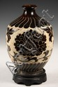 CHINESE SONG VASE - Chinese Cizhou-Type Carved Pottery Vase, Song Dynasty, with large blossoms and scrolling foliage design, on wooden