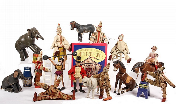 (40 PCS) SCHOENHUT CIRCUS & BOOK - Including: (27) Figures - (11) Clowns, Ringmaster, Acrobat, Strongman, Giraffe, Elephants, More; PLU