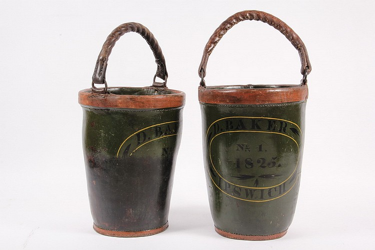 FIRE BUCKETS - Pair of Painted Leather Fire Buckets #1 and #2 Marked D. Baker, 1825, Ipswich, green with black lettering and gold highl