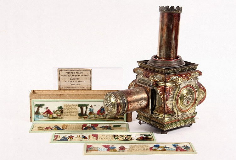 MAGIC LANTERN & SLIDES - Painted Pressed Tin Magic Lantern, circa 1870, prob German, w/ Set of Twelve Handcolored Slides in orig box, l