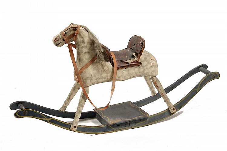 ROCKING HORSE - 19th c Painted Wood Rocking Horse, circa 1870, possibly home-made, the white horse stippled with grey sponging, 26