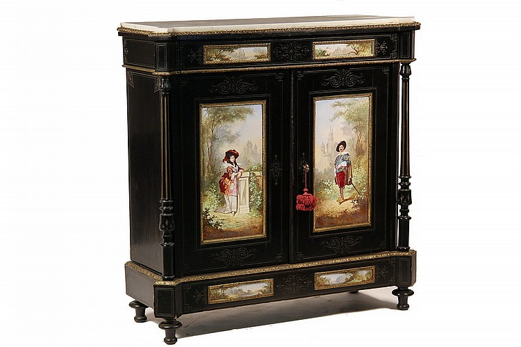 HISTORIC FRENCH MARBLE TOP CABINET - Napoleon III Era Ebonized Cabinet with handpainted porcelain panels, gilt ormolu mounts and white