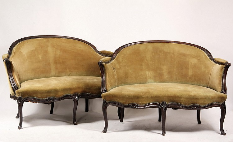 LOVE SEATS - Pair of French Rosewood Upholstered Love Seats, exposed finger carved frame with serpentine fronts, 19th c., w/ green velv