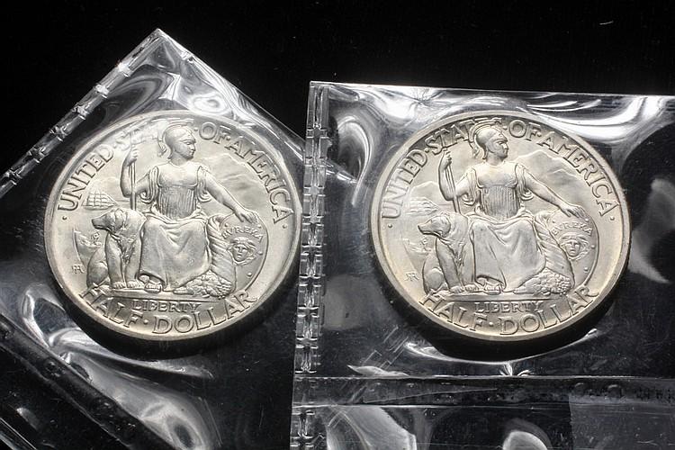 COINS - (2) San Diego CA Pac. Expo, 1936-D, Commemorative Halves. Gem BU MS65 Ex Blanchard.