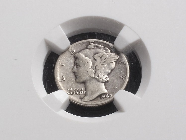 COIN - (1) Mercury Head Silver Dime, 1942 over 1941, 10 cent piece, VF30.