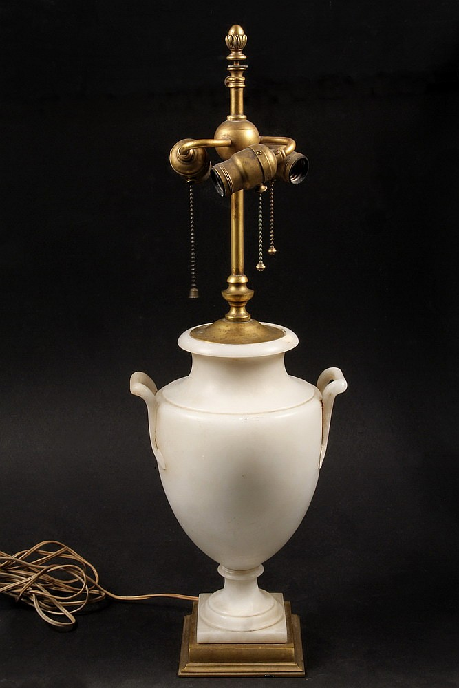 ELECTRIC ALABASTER LAMP - 1920s Vintage Alabaster Urn Form Lamp with Gilt Bronze Fittings, possibly Caldwell, having three sockets, lac