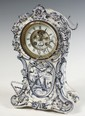 PORCELAIN CASE MANTEL CLOCK - 19th c. Blue Delft China Case Mantel Clock, brass 8-day time & strike French movement, exposed escapement