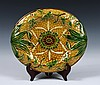 MAJOLICA SERVER - Unmarked Bread Tray in Sunflower and Basketweave pattern. 13