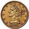 1901/0-S $5 Liberty Gold Half Eagle - Overdate - AU-58 NGC - L30900