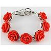 34.42g Pinky Rose Sea Coral Sterling Silver Bracelet - L15516