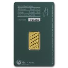 5 gram Perth Mint Gold Bar .9999 Fine (In Assay) - L25590