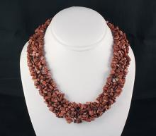 Woven Multi-Strand Natural Chip Beads Necklace - L23416
